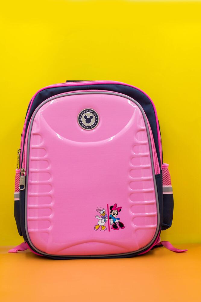 disney迪士尼正版米奇立體造型護脊書包-橫紋粉色