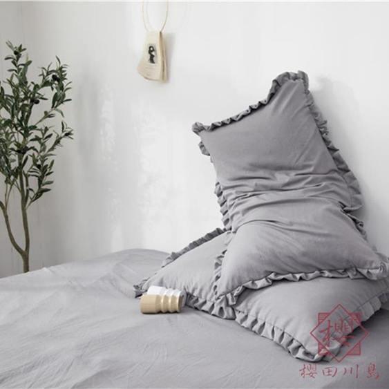 一對裝 枕套韓式水洗棉花邊內膽套48x74cm單人枕頭枕芯套