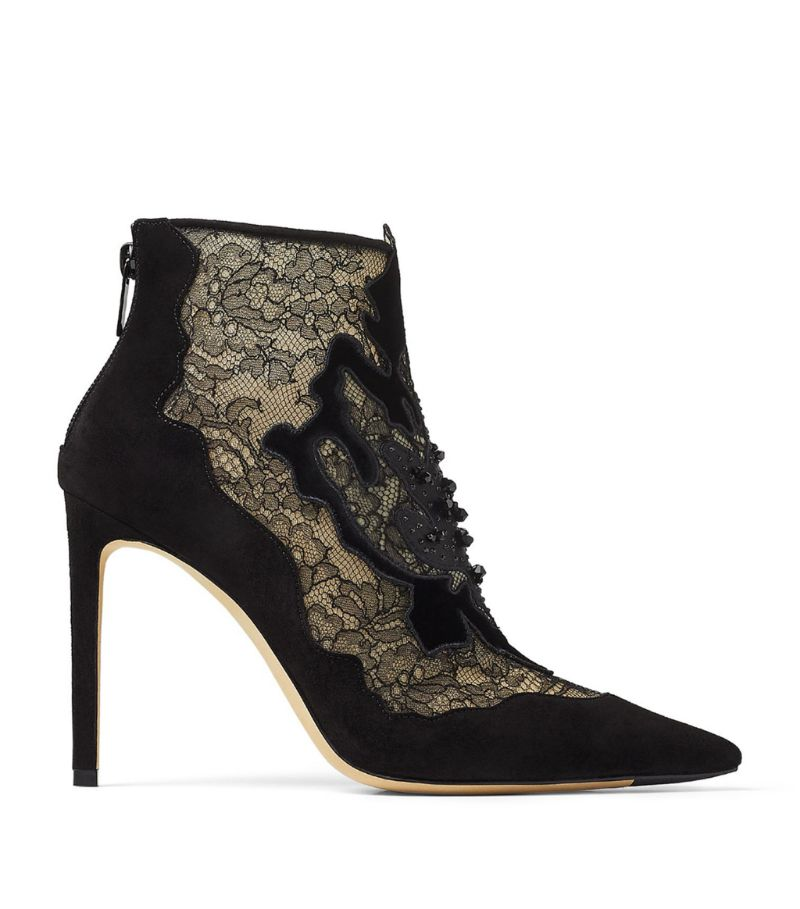 Jimmy Choo Lorre 100 Embellished Lace Boots