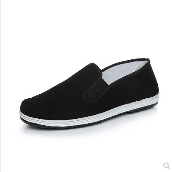 懶人鞋 老北京布鞋男士一腳蹬懶人透氣黑工作休閒春夏季布鞋帆布爸爸布鞋 芊墨左岸