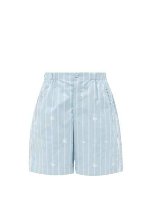 Gucci - Logo-jacquard Striped Cotton-poplin Shorts - Womens - Light Blue