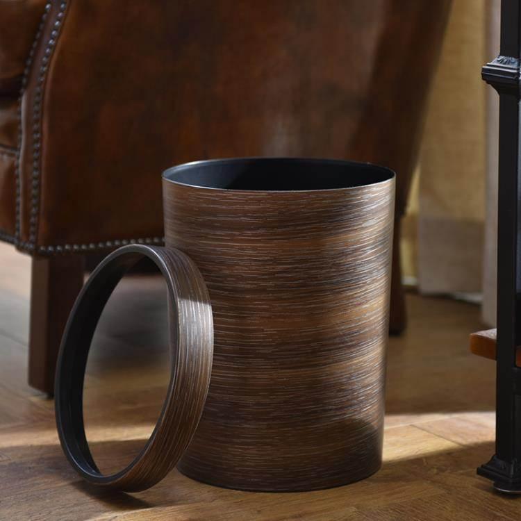 垃圾桶 復古仿木紋垃圾桶家用創意客廳廚房衛生間紙簍塑料帶壓圈無蓋大號