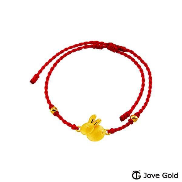 Jove Gold 漾金飾 吉來運展黃金繩手鍊-兔