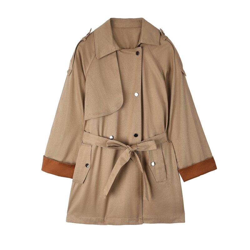 風衣大衣長款外套-撞色袖口寬鬆翻領女外套73yt20【獨家進口】【米蘭精品】