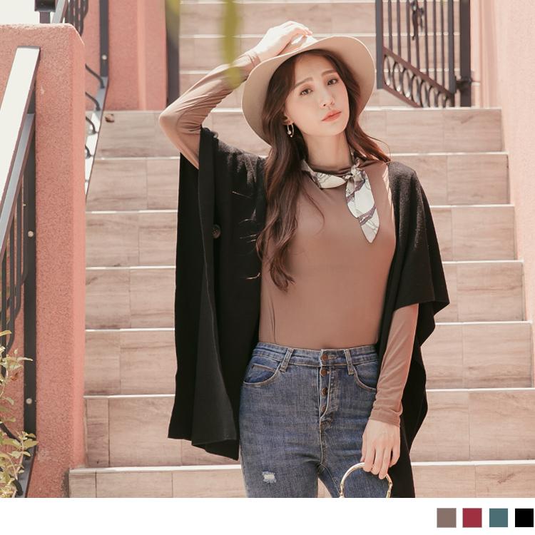 多WAY!純色可拆釦質感包芯紗罩衫/圍巾