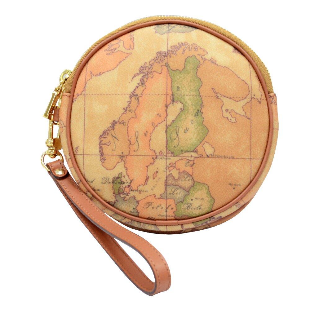 【Alviero Martini 義大利地圖包】圓形拉鍊雙層手拿零錢包-地圖黃