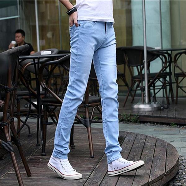 牛仔褲 夏季薄款淺色牛仔褲男士潮牌彈力修身小腳黑色休閒褲子男韓版潮流 夢藝