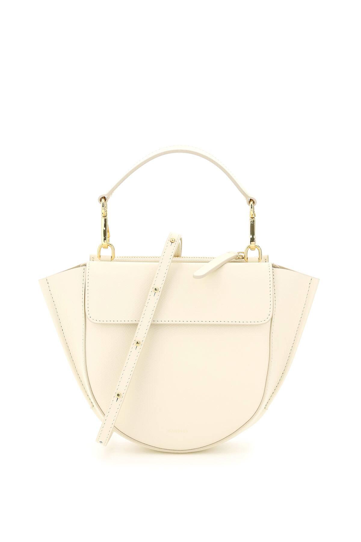 WANDLER MINI HORTENSIA SAFFIANO LEATHER BAG OS White, Beige Leather