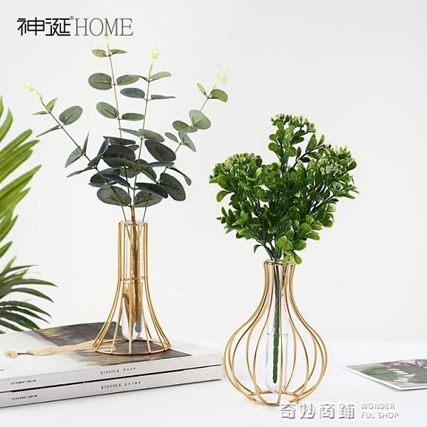 ins風北歐透明玻璃花瓶擺件創意簡約客廳干花插花餐桌面裝飾品小 全館免運
