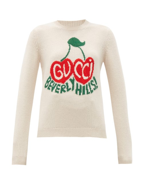 Gucci - Beverly Hills Logo-intarsia Wool Sweater - Womens - Ivory