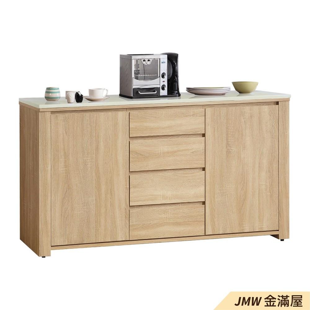 160cm北歐餐櫃收納 實木電器櫃 廚房櫃 餐櫥櫃 碗盤架 中島大理石金滿屋尺餐櫃-j388-0