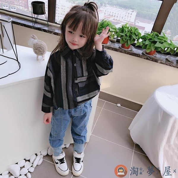 兒童蝙蝠袖襯衫男女童寶寶舒適寬鬆條紋上衣【淘夢屋】