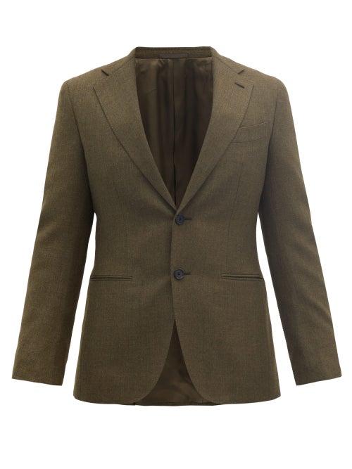 Caruso - Single-breasted Wool-fresco Suit Jacket - Mens - Dark Green