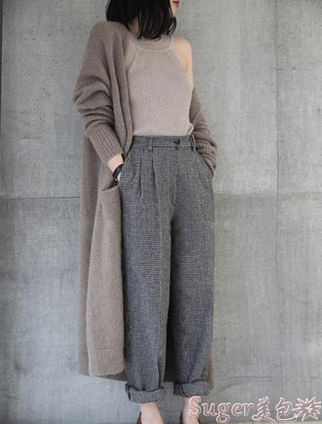 針織外套 歐美秋冬新款羊絨大衣女中長款寬鬆毛衣外套針織開衫加厚外搭 suger