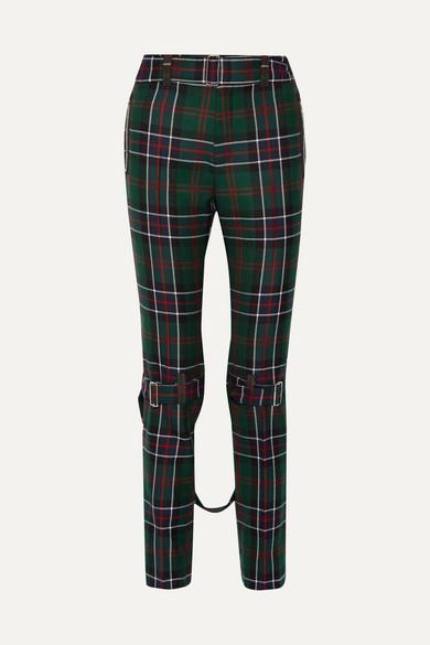 Gucci - 格子呢羊毛窄腿裤 - 祖母绿色 - IT38