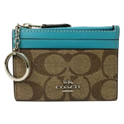 COACH 悠遊卡鑰匙零錢包(PVC-焦糖/土耳其藍)