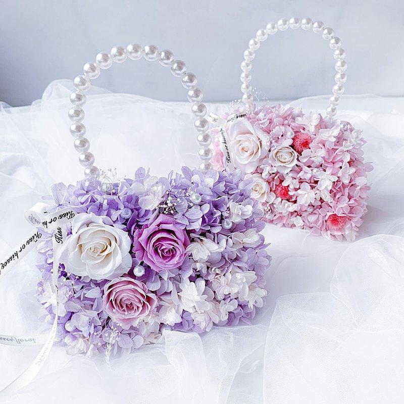 【永生花提包】新婚禮 祝賀禮 生日禮物 喬遷 伴娘 捧花 小花童