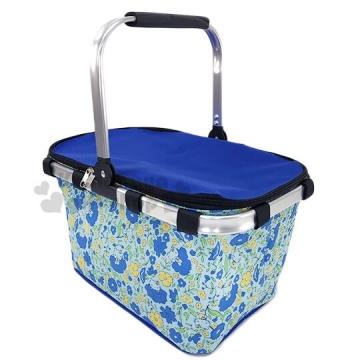 〔小禮堂〕Hello Kitty 可折疊保冷野餐籃提籃《藍黃.野餐袋.保冷箱》