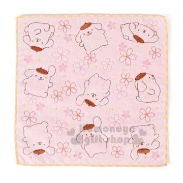〔小禮堂]布丁狗 棉質小方巾《粉黃.25x25cm.手帕.毛巾.春日和櫻系列》