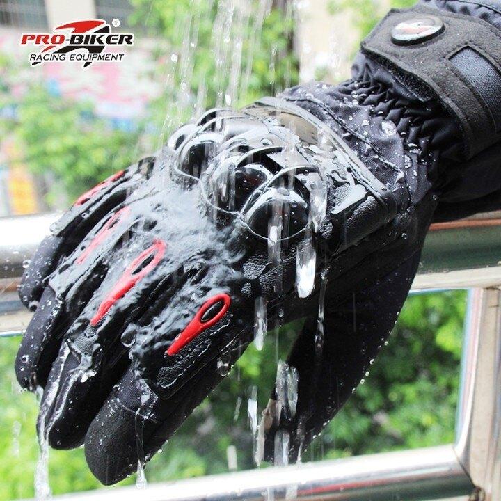 夏季摩托車騎行裝備防水寒加絨防摔騎士真皮手套機車防風全指四季 兒童節新品