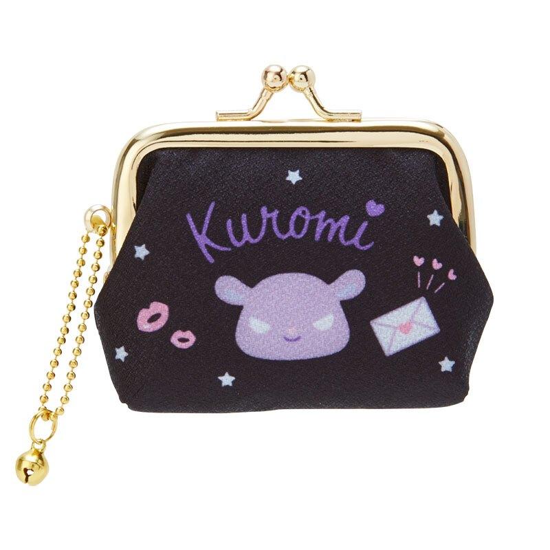 小禮堂 酷洛米 絲質口金零錢包 掛飾零錢包 口金包 耳機包 (黑紫 大臉)
