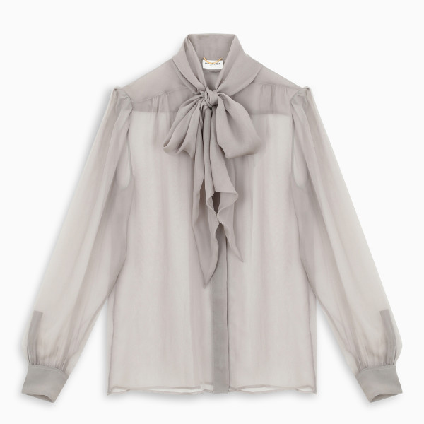 Saint Laurent Grey semi-sheer effect blouse
