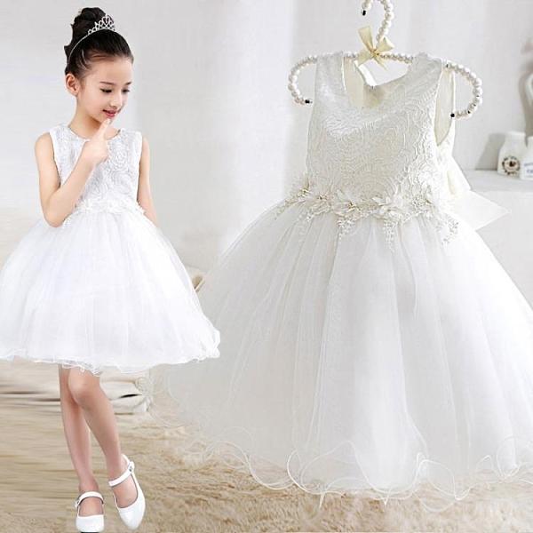 女童公主裙晚禮服蓬蓬婚紗裙走秀演出服小花童生日白色洋氣公主裙 童趣潮品