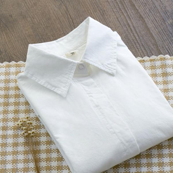 襯衫 秋季新品純棉長袖白襯衫女裝學院風修身職業裝打底衫襯衣上衣 雙十二全館免運