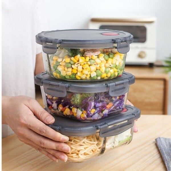 保溫飯盒 玻璃保鮮分隔便當盒學生便攜餐盒套裝可微波爐加熱上班族飯盒保溫[優品生活館]