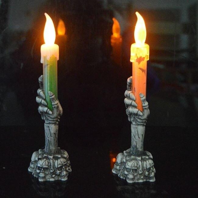 萬聖節道具 萬聖節鬼屋酒吧密室裝飾布景道具鬼節LED發光鬼手骷髏蠟燭燈鬼燈 萬聖節狂歡 清涼一夏特價