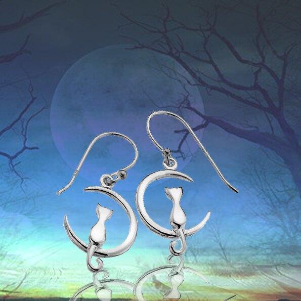 銀淬坊 PurCoeur 925純銀 可愛動物浪漫月球上的月亮雙貓耳環1對