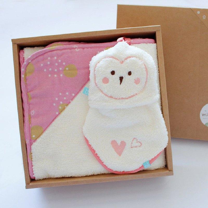【冬季限定】雙素材毛巾毯禮盒-草鴞二件組(毛毛帕+澎澎毯)