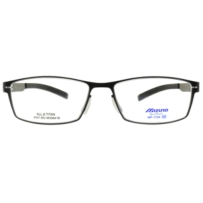 MIZUNO美津濃眼鏡 方框款/槍黑 # MF1724 C04