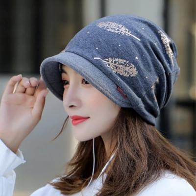 【89 zone】法式燙金優雅透氣多功能保暖套頭防風/頭巾帽(灰)