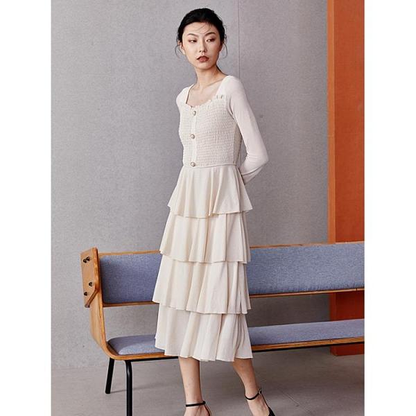 蛋糕裙洋裝 閃光網紗禮服連衣裙 2020年秋新款微透視性感方領蛋糕連衣裙子