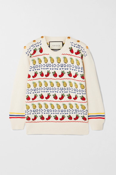 Gucci - 纽扣装饰嵌花棉质羊毛混纺毛衣 - 奶油色 - large