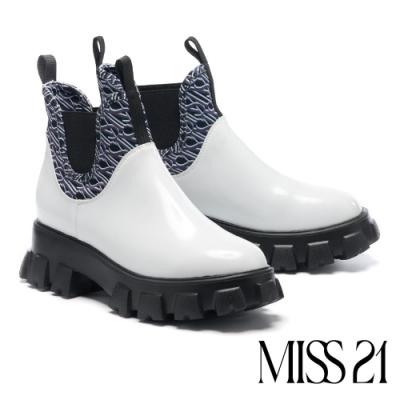 短靴 MISS 21 玩轉印花藝術異材質拼接切爾西厚底休閒短靴-白