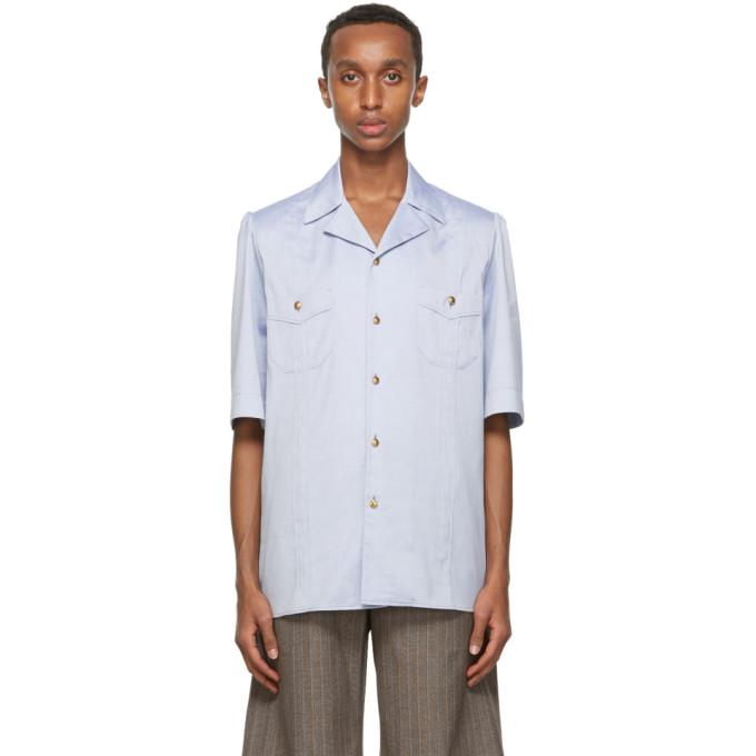 Gucci 蓝色牛津纺短袖衬衫