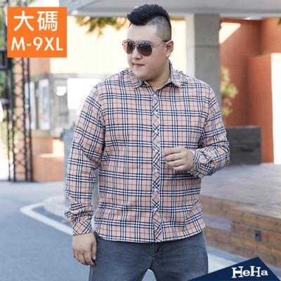 HeHa-大碼經典格紋長袖襯衫外套