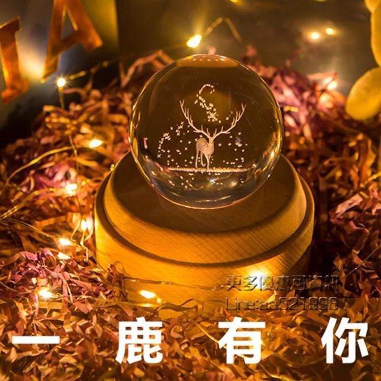 【快速出貨】音樂盒 水晶球音樂盒八音盒音響生日禮物天空之城小王子旋轉木馬女生 創時代 新年春節 送禮