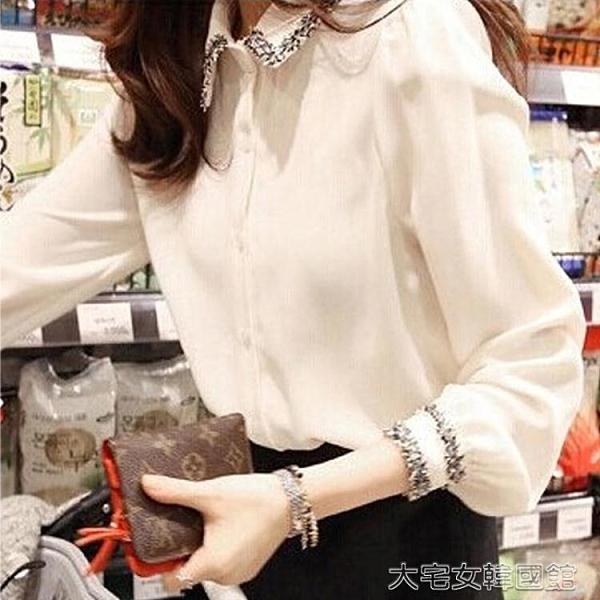 長袖襯衫女大碼白襯衣女秋裝新設計感小眾心機寬鬆上衣雪紡打底小衫長袖襯衫 快速出貨