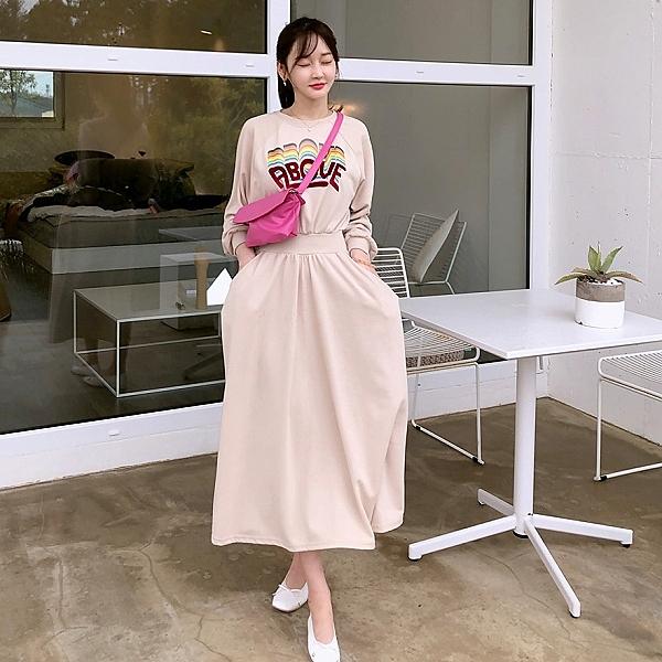 韓國製.青春活力鮮豔彩色字母收腰抓皺連身裙.白鳥麗子