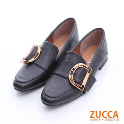 ZUCCA-D金屬環紳士平底鞋-黑-z6629bk