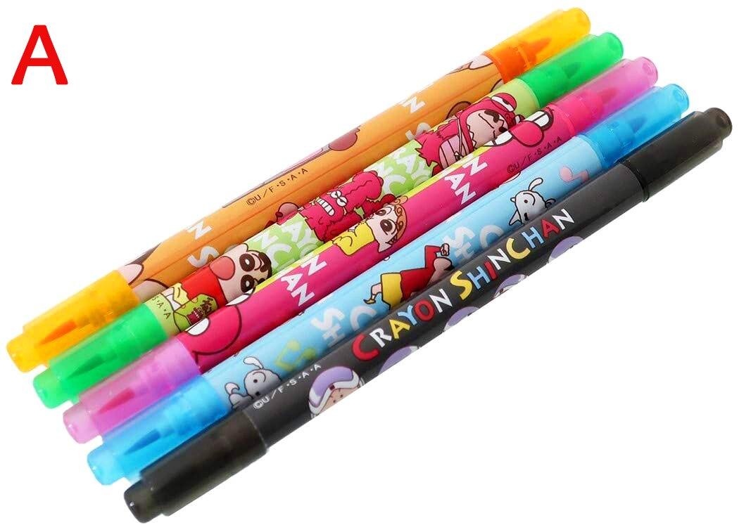 雙頭彩色筆組 5入-睡衣 恐龍餅乾 K-8728 蠟筆小新 CRAYON CHANSHIN 兩款  日本進口