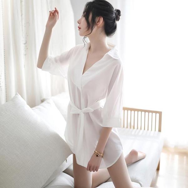 女士白色雪紡薄款男友風襯衣白襯衫夏季性感私房睡衣長款冰絲睡裙-Milano米蘭
