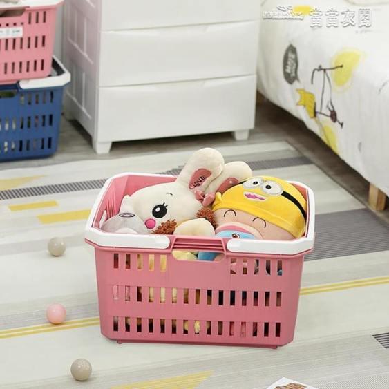 愛麗思家用客廳多功能收納箱玩具收納筐後備箱野餐置物超市購物籃