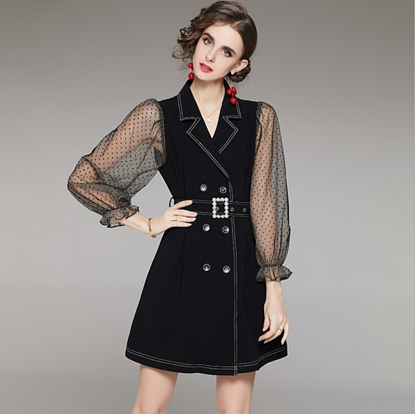 (現貨+預購 RN-girls)-精品網紗袖西裝款長袖洋裝