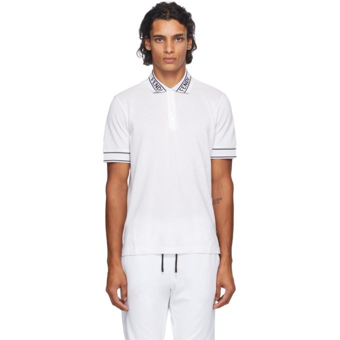 Fendi 白色 Logo Collar 珠地棉 Polo 衫