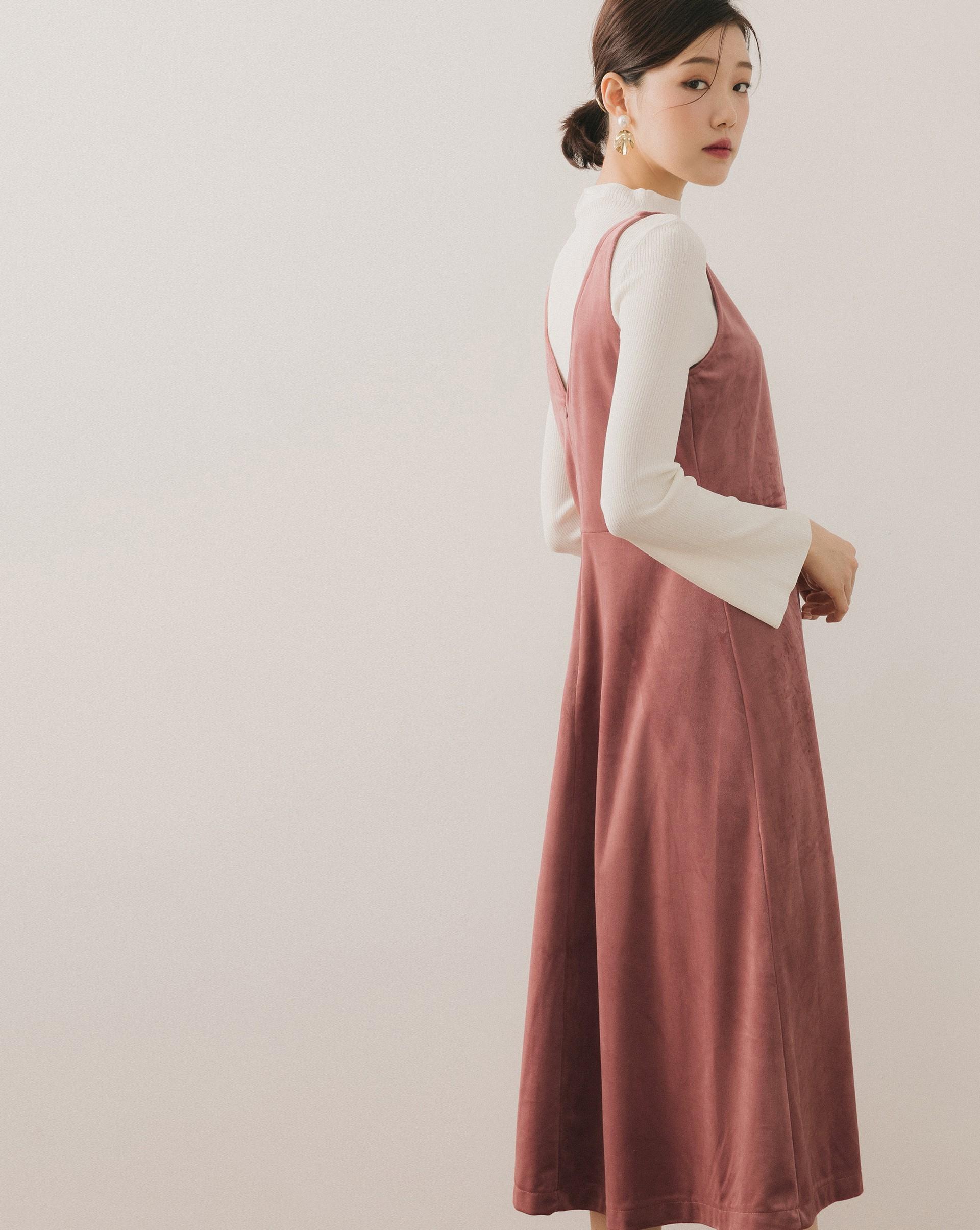 優雅感絨面V領無袖洋裝-Meierq