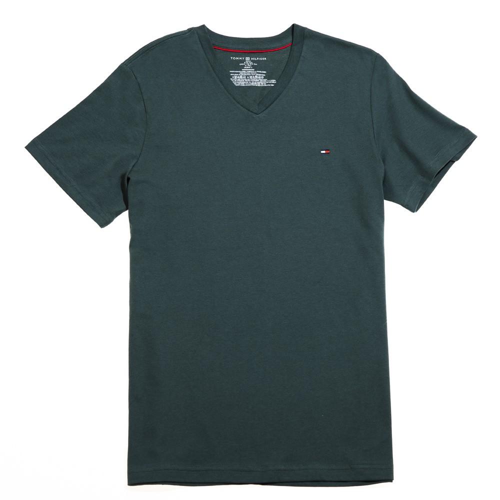 Tommy Hilfiger 小LOGO素色V領T恤 (綠色) 09T3140